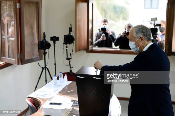 The President and independent candidate Marcelo Rebelo de Sousa casts his vote at a polling station for the 2021 presidential election on January 24,...