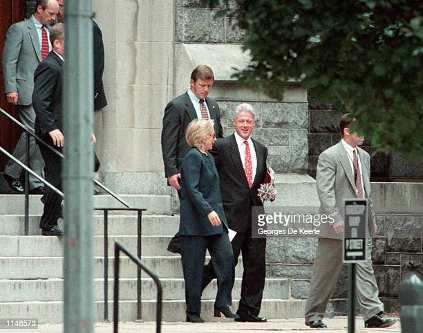 The President and Mrs Clinton leave Foundry United Methodist Church in Washington DC August 16th 1998 With his historic grand jury questioning just...