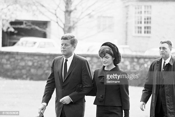 The President and Mrs Kennedy arrive at the St James Protestant Episcopal Church here for the funeral services of Mrs Eleanor Roosevelt | Location...