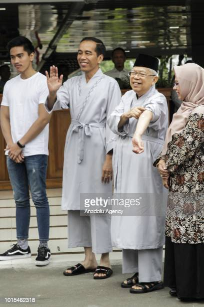 The president and vice president candidates of Indonesia 2019 2024 Joko Widodo and Ma'ruf Amin accompanied by their children Kaesang Pangarep and...