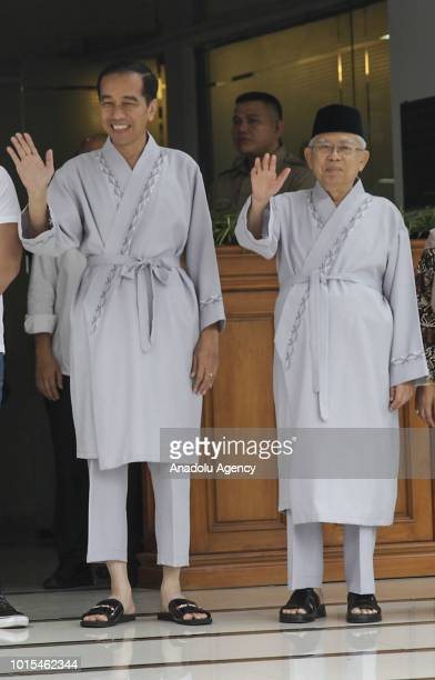 The president and vice president candidates of Indonesia 2019 2024 Joko Widodo and Ma'ruf Amin are seen after taking a medical test at the Army...