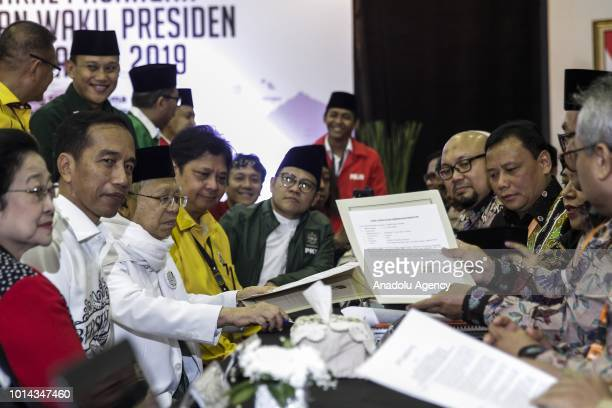 The president and vice president candidates of Indonesia Joko Widodo and Maruf Amin accompanied by the leaders of parties coalition while registering...