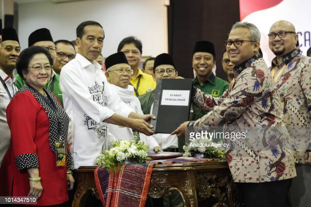 The president and vice president candidates of Indonesia Joko Widodo and Maruf Amin submit their candidacy file to the chairman of General Elections...