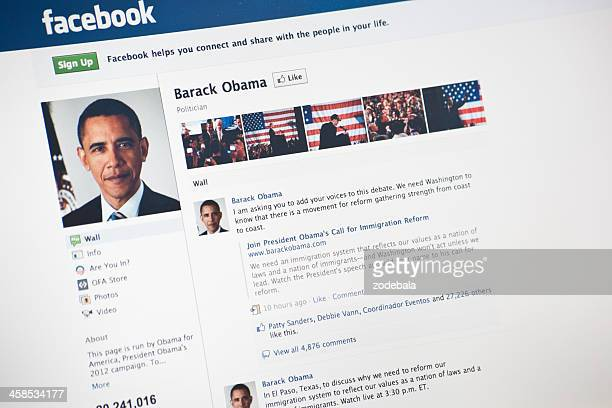 the president barack obama page on facebook.com - barack obama photos stock pictures, royalty-free photos & images