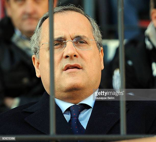 The president Claudio Lotito of SS Lazio during the Serie A match between AC Siena and SS Lazio at Artemio Franchi Mps Arena Stadium on November 1...