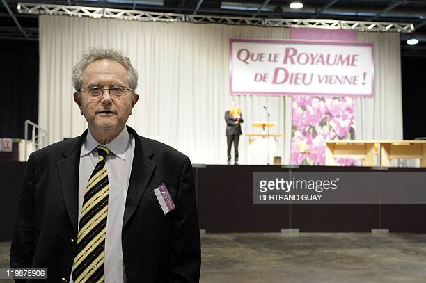 The president de la Christian Federation of Jehovah's Witnesses of IledeFrance region Guy Canonici poses during the annual Jehovah's Witnesses...