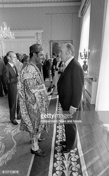 The President Dr Patrick Hillery chatting with the Nigerian Ambassador His Excellency Mr Osobase at Áras an Uachtaráin when members of the Diplomatic...