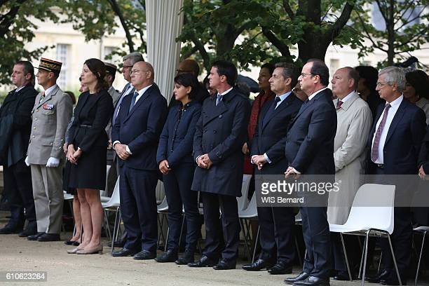 The President HOLLANDE at the commemorative ceremony for the victims of attacks in Paris at the Invalide on September 19 2016 around the President...