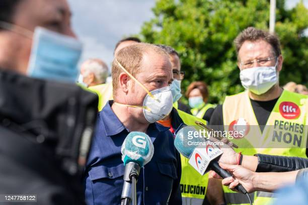The president of Alcoa works council, José Antonio Zan, talks with press on June 7, 2020 in Viveiro,Lugo, Spain. Alcoa workers are once again taking...