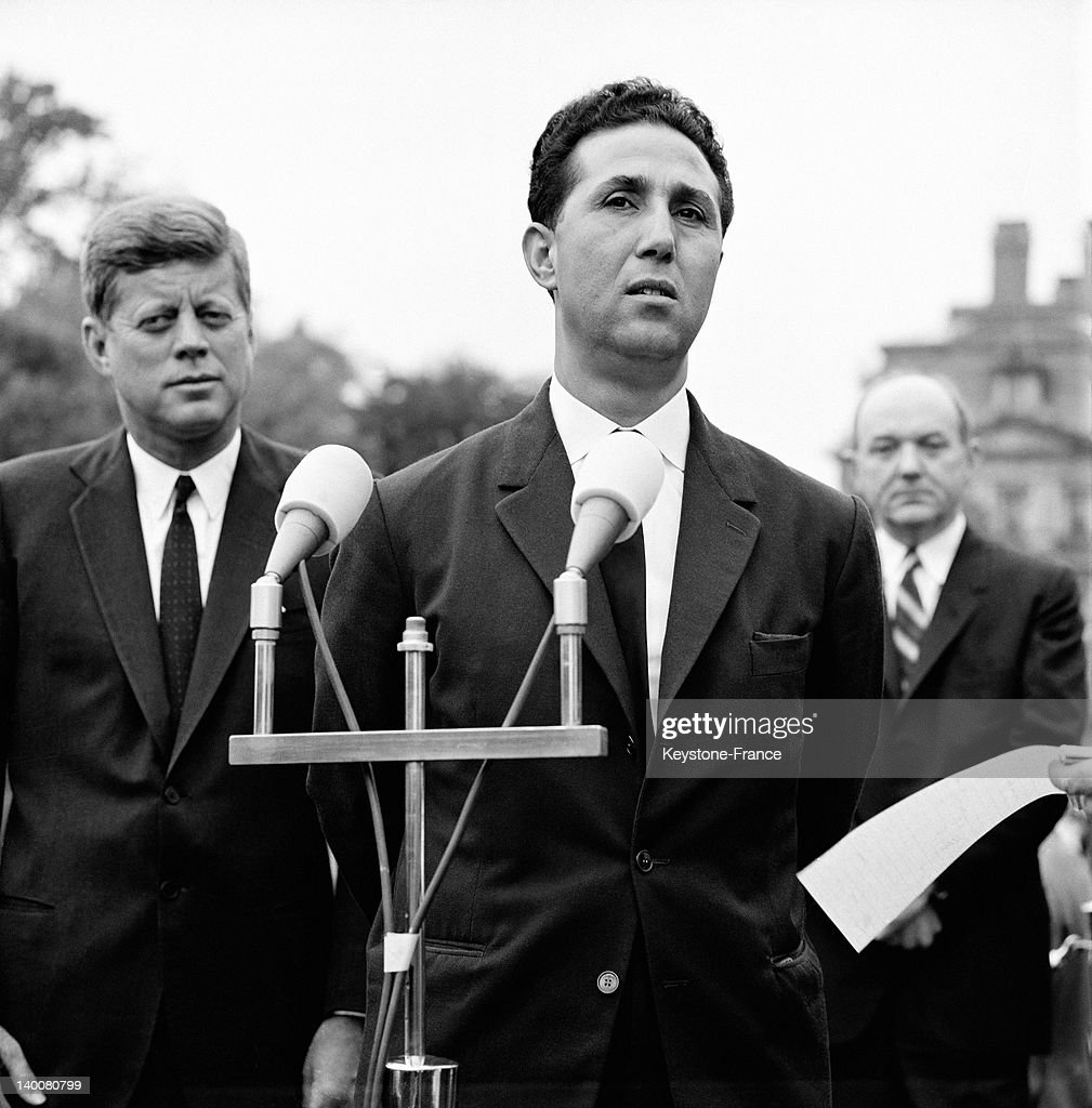 The President Of Algerian Council Ahmed Ben Bella Welcomed At White House By US President John F Kennedy In 1962 : News Photo