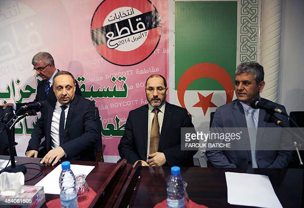 The president of Algeria's Jil Jadid party Sofiane Djilali the president of the Movement for the Society of Peace Abderrezak Mokri and the spokesman...