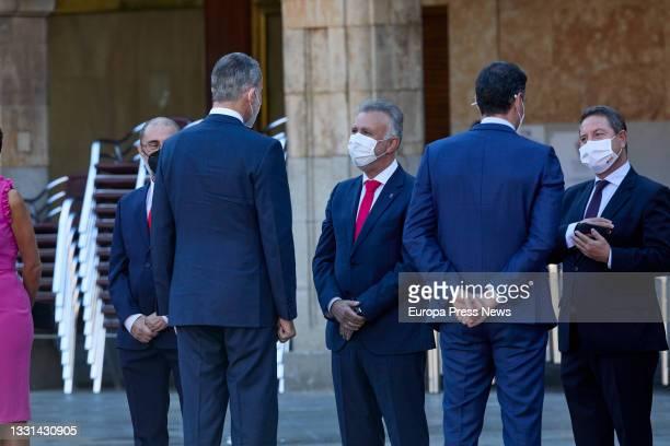 The President of Aragon, Javier Lamban; King Felipe VI; the President of the Government of the Canary Islands, Angel Victor Torres; the President of...