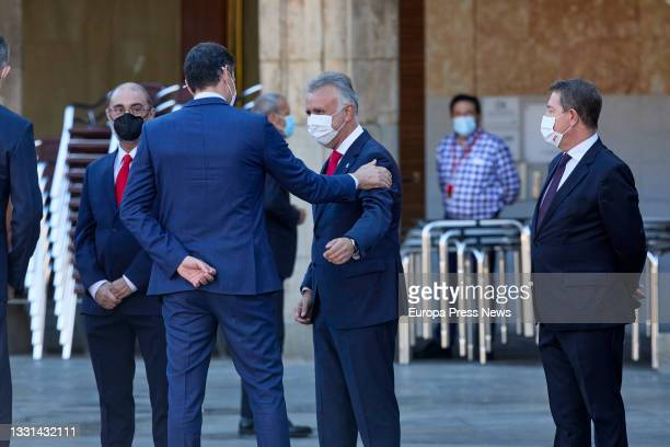 The President of Aragon, Javier Lamban; the President of the Government, Pedro Sanchez; the President of the Government of the Canary Islands, Angel...