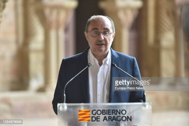 The president of Aragon Javier Lambán is seen in an press conference during the visit of King Felipe of Spain and Queen Letizia of Spain to the Old...