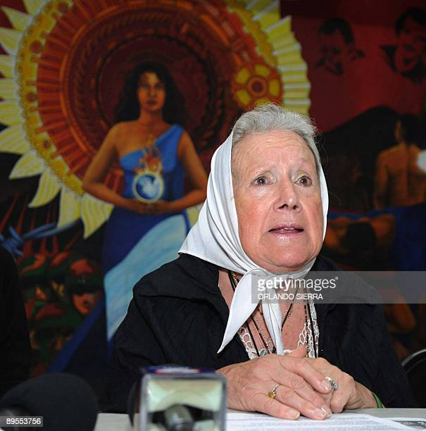 The president of Argentine human rights group Mothers of Plaza de Mayo Association Nora Cortiñas answers questions during a press conference in...