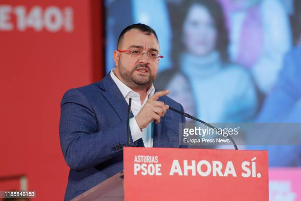 The president of Asturias, Adrián Barbón, is seen during an electoral campaign act of PSOE in Gijon on November 05, 2019 in Gijon Spain.