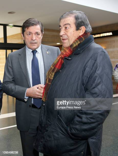 The president of Asturias Javier Fernandez and the former minister Francisco Alvarez Cascos give the last goodbye to the former president of Asturias...