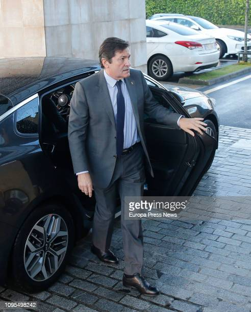 The president of Asturias Javier Fernandez gives the last goodbye to the former president of Asturias Vicente Álvarez Areces in the funeral parlour...