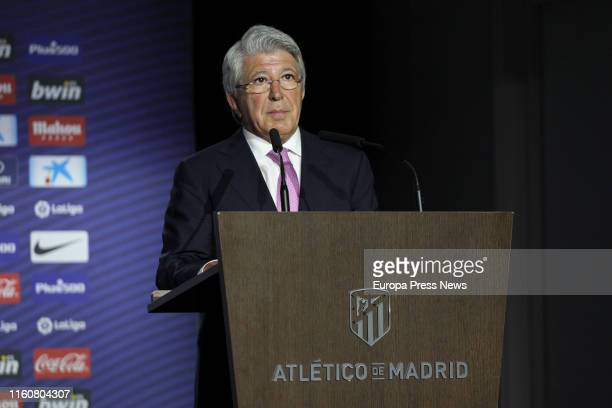 The president of Atletico de Madrid Enrique Cerezo is seen during his speech at the presentation of the football player Joao Felix as new Atletico de...