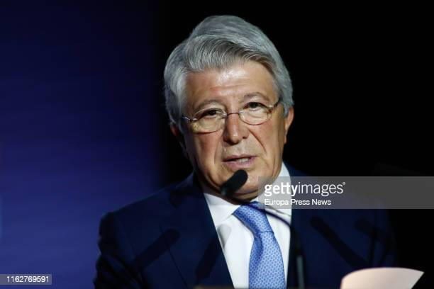 The president of Atletico de Madrid Enrique Cerezo speaks during the presentations of Kieran Trippier and Mario Hermoso as new football players of...