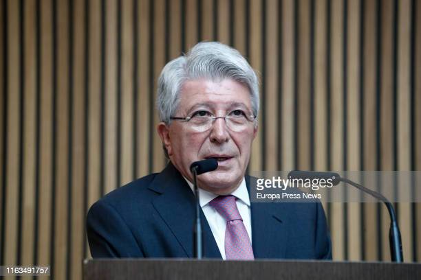 The president of Atlético de Madrid Enrique Cerezo is seen during the goodbye act of Filipe Luis as player of Atlético de Madrid for eight years at...