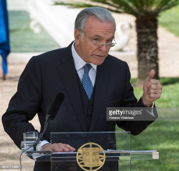The president of Banking Foundation 'La Caixa' Isidro Faine talks to the press at the end of his encounter with Portuguese Prime Minister Antonio...