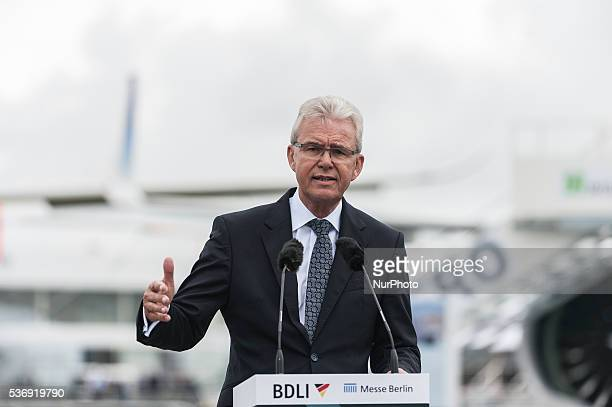 The President of BDLI Bernhard Gerwert gives a speech at the International Aerospace Exhibition in Schoenefeld near Berlin on June 1 2016 The...