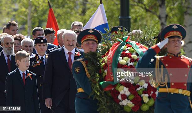 The President of Belarus Alexander Lukashenko and the First Lady Galina with their son Dmitry arrives at the Tomb of the Unknown Soldier ahead of the...