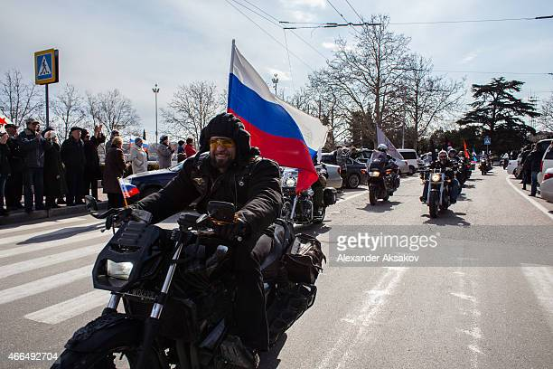 The president of bikeclub 'Night Wolves' Alexander Zaldostanov aka 'Surgeon' a well known proKremlin activist takes part in a motor rally as Crimeans...