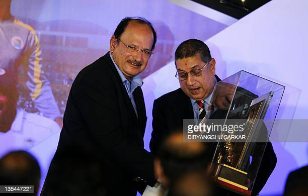 The president of Board of Control for Cricket in India NSrinivasan presents the life time achievement award to former Indian cricket captain Ajit...