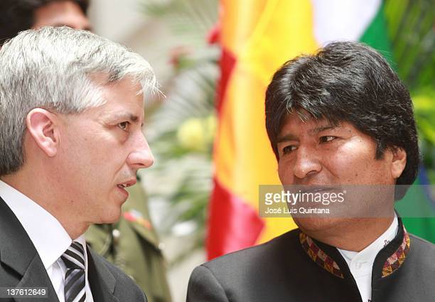 The President of Bolivia Evo Morales with the Vice President Alvaro Garcia Linera during the ceremony of possession of the new cabinet for 2012/2013...