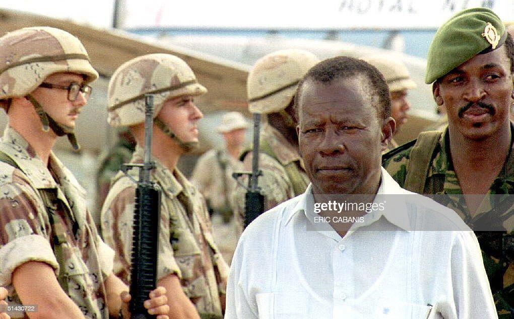 The President of Botswana, Ketumile Masire, review : News Photo