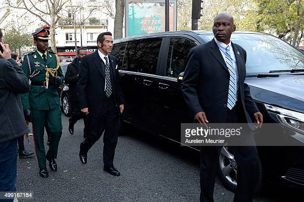 The President of Botwsana Seretse Ian Khama walks in front of Le Bataclan during the forbidden COP21 demonstration at Place de la Republique on...