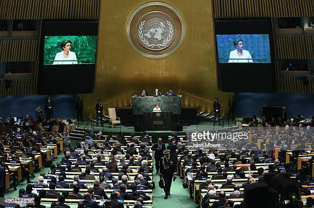 The President of Brazil Dilma Rousseff addresses the opening session of the UN General Assembly on September 28 2015 in New York City World leaders...