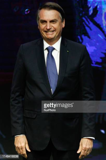 The president of Brazil Jair Bolsonaro participates in the ceremony of delivery of the Order of Industrial Merit of the state of São Paulo at the...