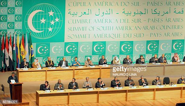 The President of Brazil Luiz Inacio Lula da Silva delivers a speech during the opening of the Summit of South American and Arab Countries held in...