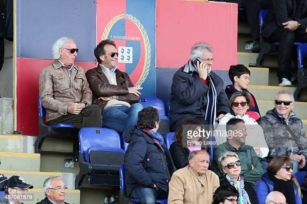 the president of Cagliari Massimo Cellino looks on during the Serie A match between Cagliari Calcio and Parma FC at Stadio Sant'Elia on April 27 2014...