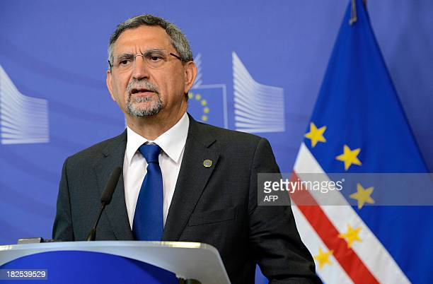 The President of Cape Verde Jorge Carlos Fonseca speaks during a press conference following his meeting with European Union Commission President at...