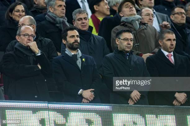 The president of Catalan Parliament Roger Torrent and FC Barcelona president Josep Maria Bartomeu during La Liga match between FC Barcelona v Girona...
