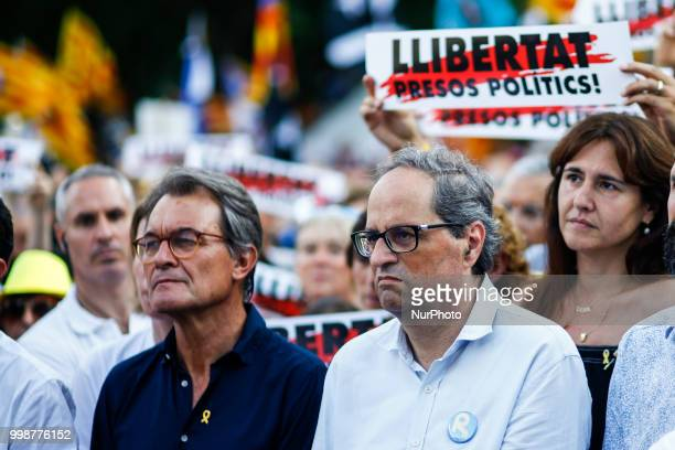 The president of Catalonia Quim Torra with ex President Artur Mas during the demonstration of Independence political parties and independence...