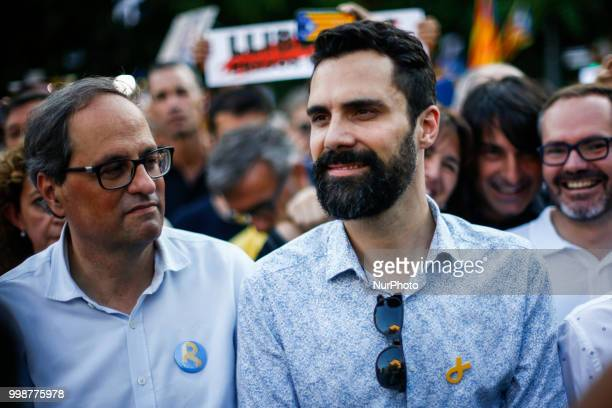 The president of Catalonia Quim Torra with the President of the Catalan Parliament Roger Torrent during the demonstration of Independence political...