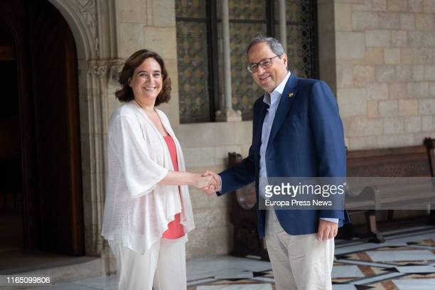The president of Cataluña, Quim Torra , and the mayor of Barcelona, Ada Colau , are seen before a meeting at Palau de la Generalitat on July 30, 2019...