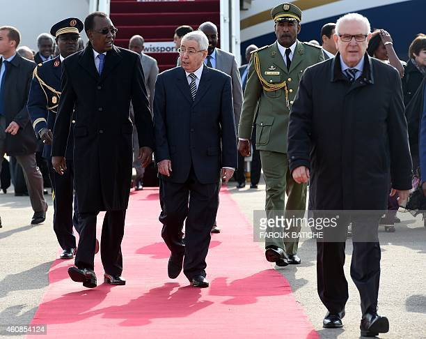The President of Chad Idriss Deby Itno is welcomed by President of the Council of the Nation Abdelkader Bensalah upon his arrival at Houari...