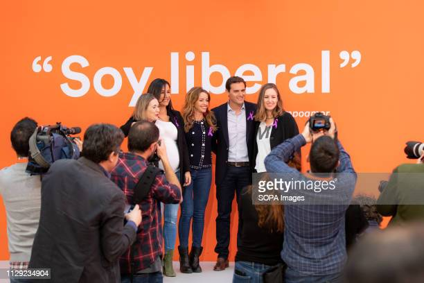 The president of Ciudadanos Albert Rivera accompanied by the head of the Women and LGTBI Area of the formation Patricia Reyes the Secretary of Youth...