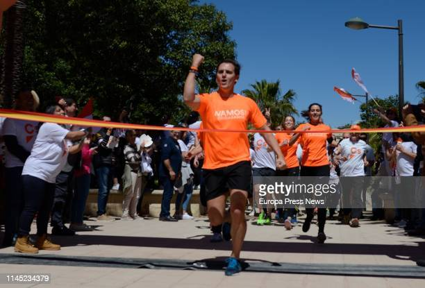 The president of Ciudadanos Albert Rivera is seen during a 'citizen race' on April 26 2019 in Valencia Spain