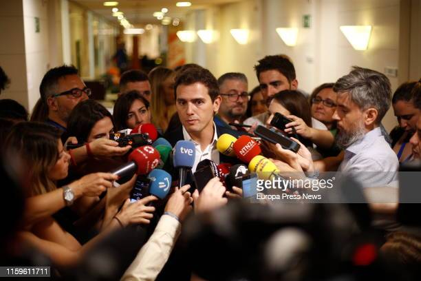 The president of Ciudadanos Albert Rivera is seen talking to the press after a meeting at the Parliament with the president of PP Pablo Casado and...