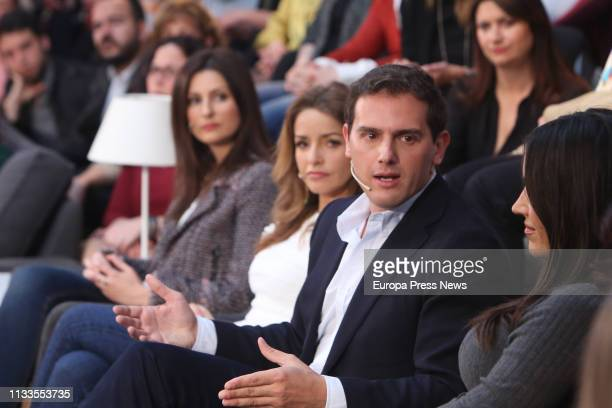 The president of Ciudadanos Albert Rivera the candidate of Ciudadanos to the mayoralty in Madrid Begoña Villacis and the spokeswoman for Equality of...