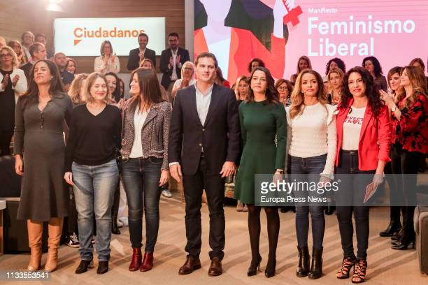 The president of Ciudadanos Albert Rivera the leader of Ciudadanos in Catalonia Ines Arrimadas the spokeswoman for Equality of Ciudadanos Patricia...