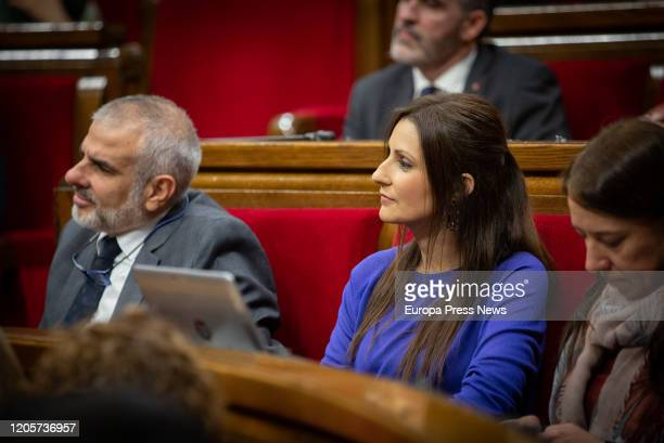 The president of Ciudadanos in Cataluña Carlos Carrizosa and the spokeswoman of Ciudadanos in Cataluña Lorena Roldan are seen during the second day...
