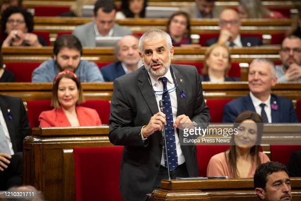 The president of Ciudadanos in the Parliament Carlos Carrizosa is seen during his speech from his seat during a plenary session in the Parliament of...
